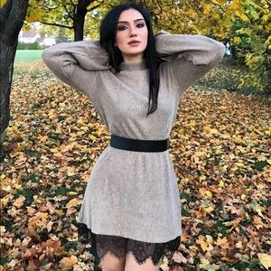 Brown Sweater Dress with Lace Hem